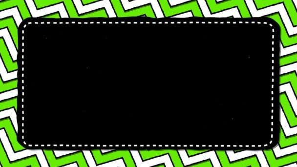 Green Stripes Zig-Zag Black Rectangle Shape Background For Text