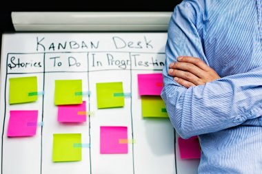 Image of kan ban desk to do list board kanban with post-it notes.