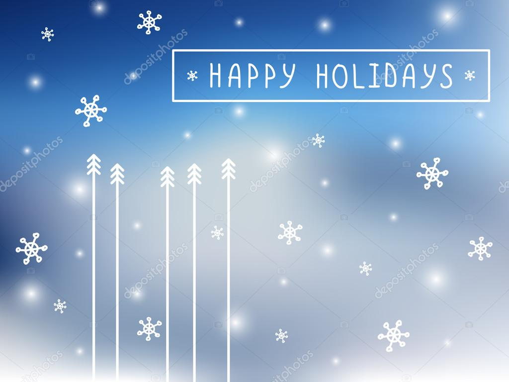 Minimalistic flat vector card with fir-trees and snowflakes on mesh background. Happy holidays