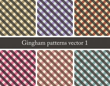 Country style pattern, set of seamless gingham patterns