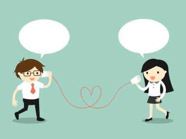 Business concept, Love in office. Businessman and business woman talking via cup telephone. Vector illustration.