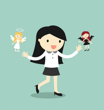 Business concept, Business woman with angel and devil. Vector illustration. stock vector