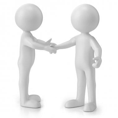 3d men, stickman handshake