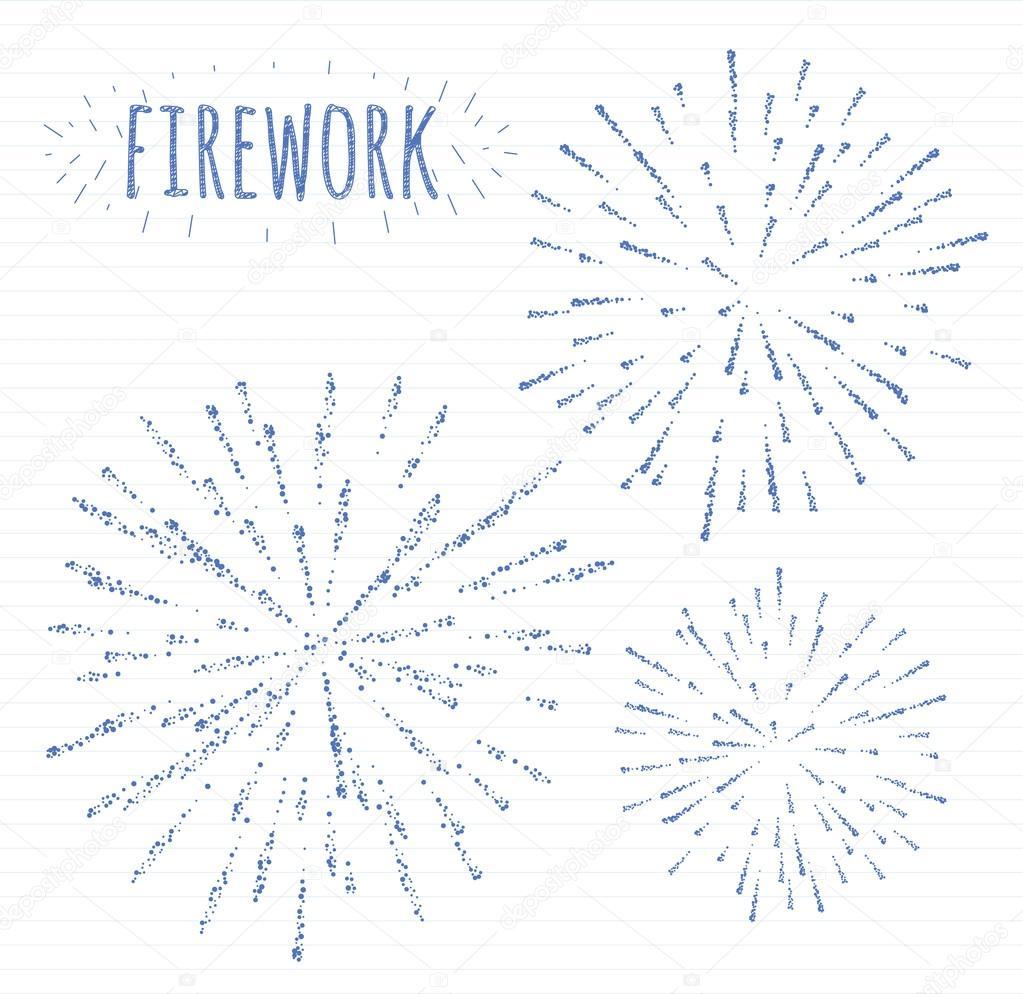 Fuegos Artificiales Dibujo A Lapiz Conjunto De Dibujo Festivo