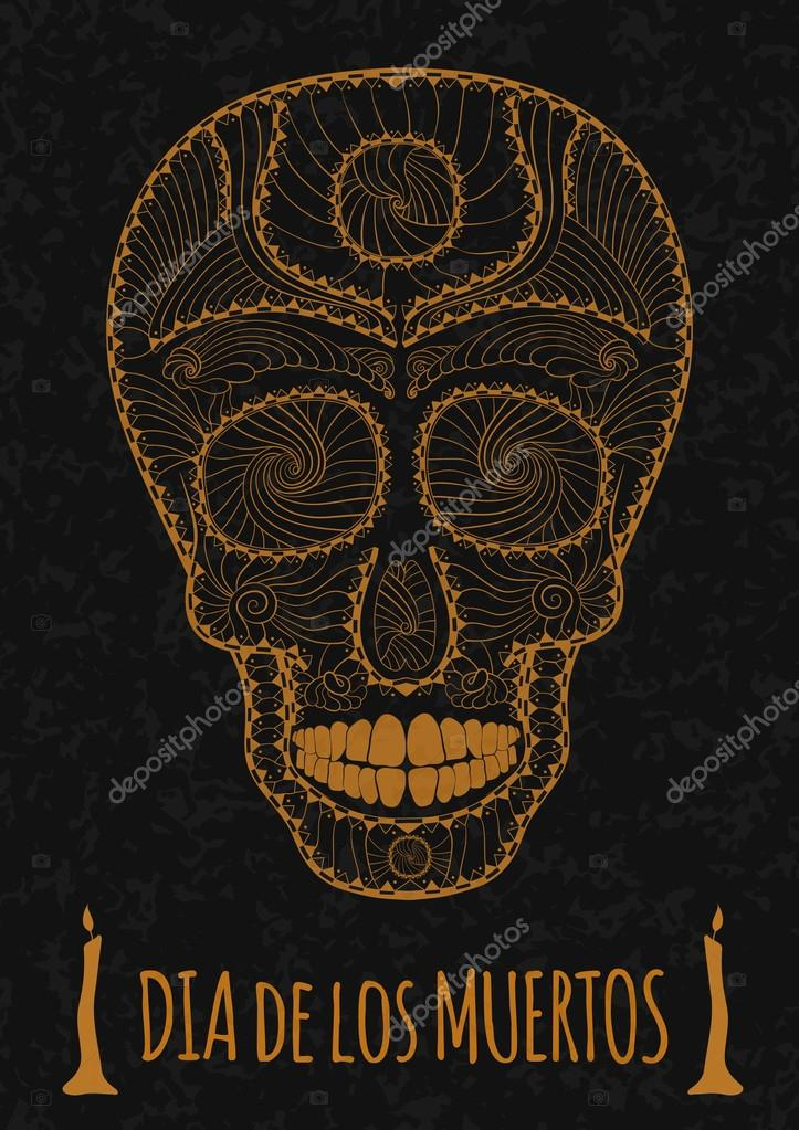 Dia De Muertos Tatuaje Cráneo Día De Los Muertos Monocromo