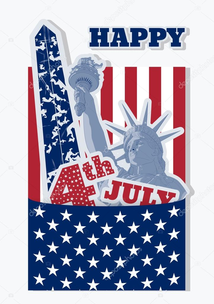 Collage For Fourth July Celebration Usa Statue Of Liberty Flag And