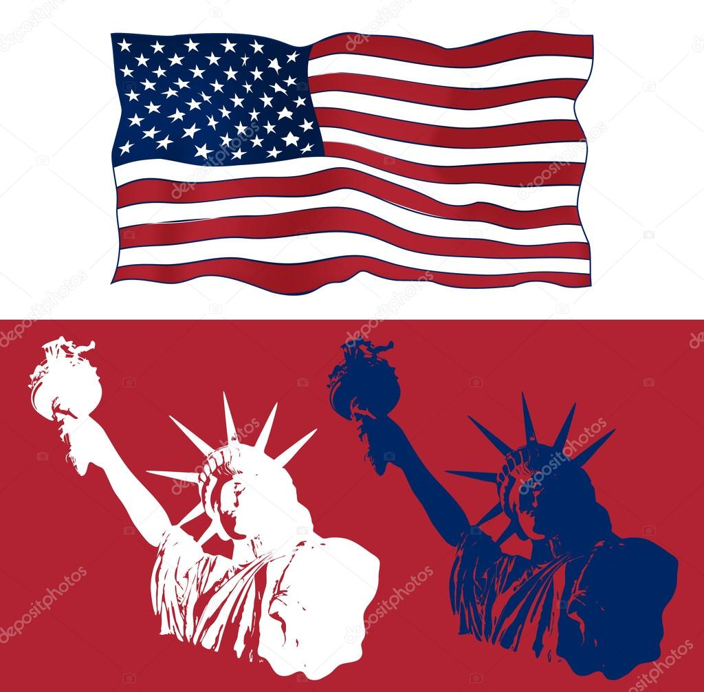 Set of art design of statue of liberty with american flag design set of festive art design elements for fourth of july independence day usa with symbols of america statue of liberty with american flag biocorpaavc Images