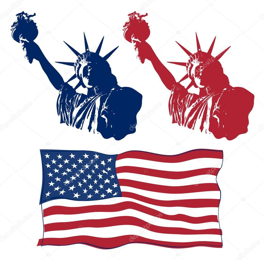 Insieme del disegno di arte della statua della libert con for Disegno della fattoria americana