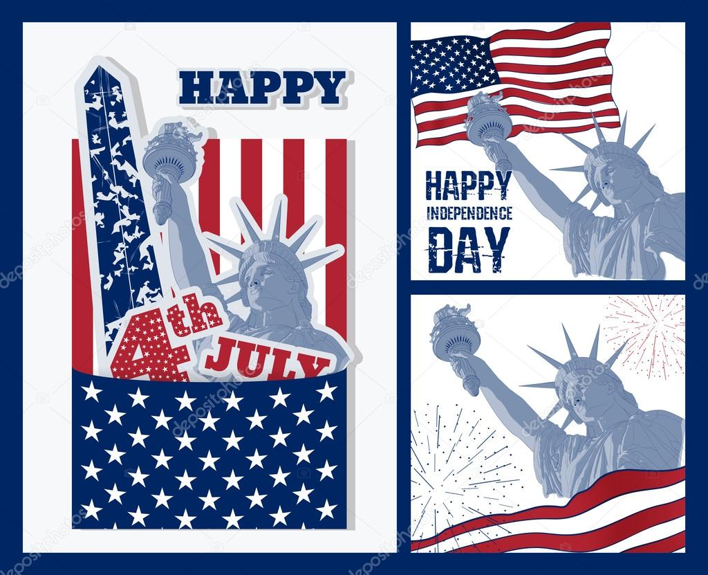 Set Of Art Design Of Statue Of Liberty With American Flag Design