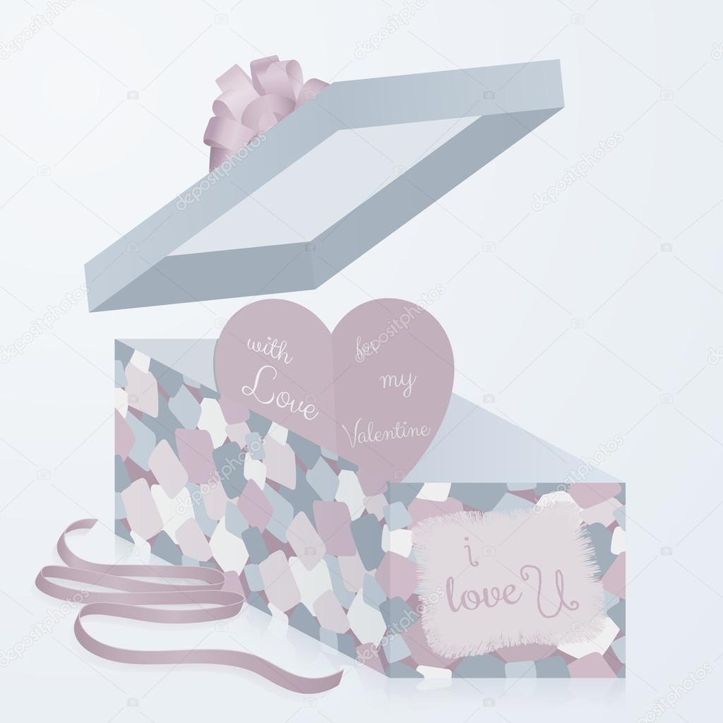a template gift box with patchwork texture 3d paper heart with