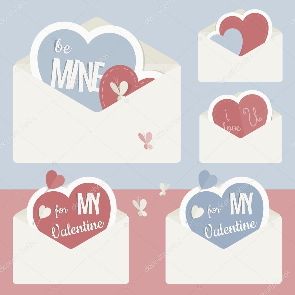 Vektor Jahrgang Umschlag mit roten und blauen Papier-Herzen im ...