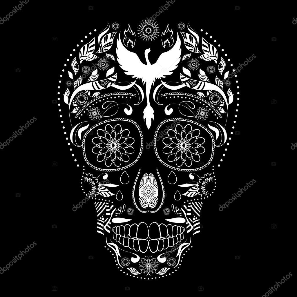 Dia De Muertos Del Tatuaje Del Cráneo Día Recargado De Los Muertos