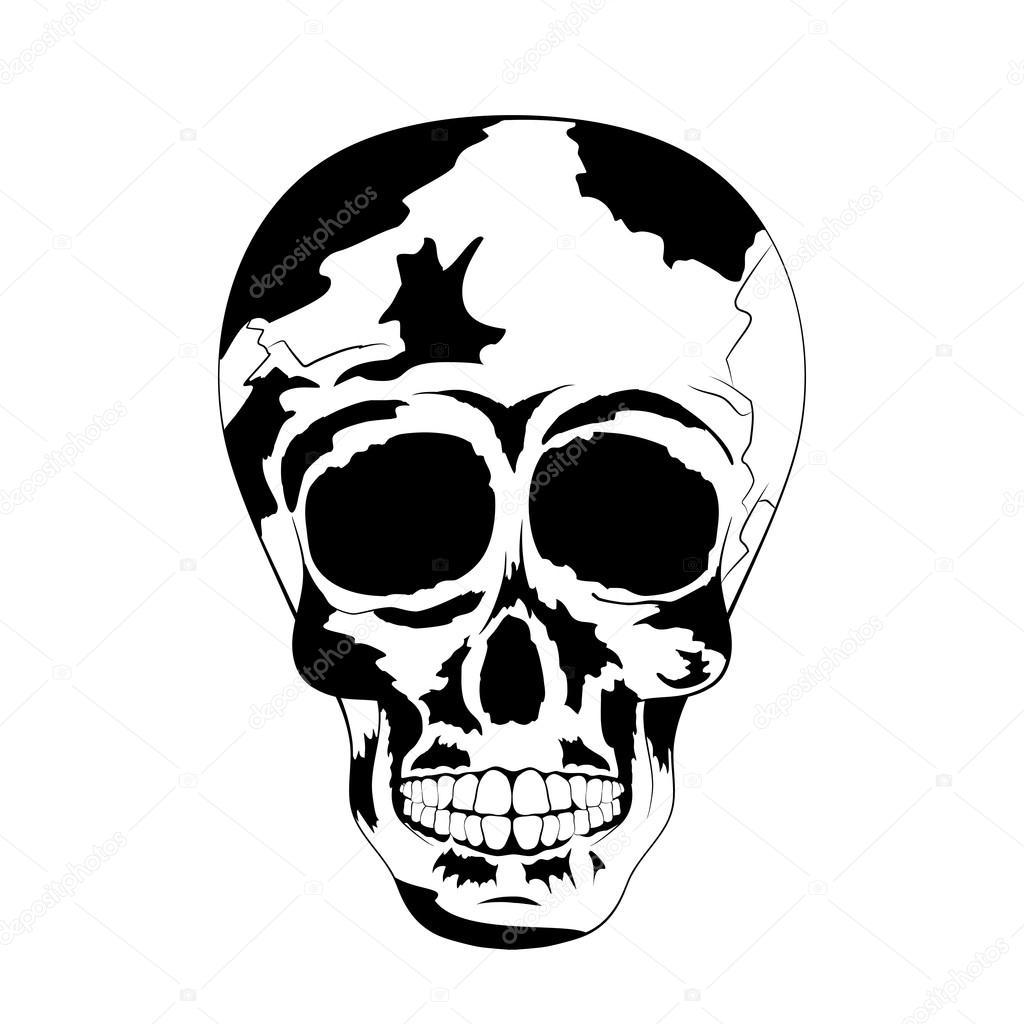 Cráneo Humano De Blanco Y Negro Tatuaje Calavera Día De Muertos