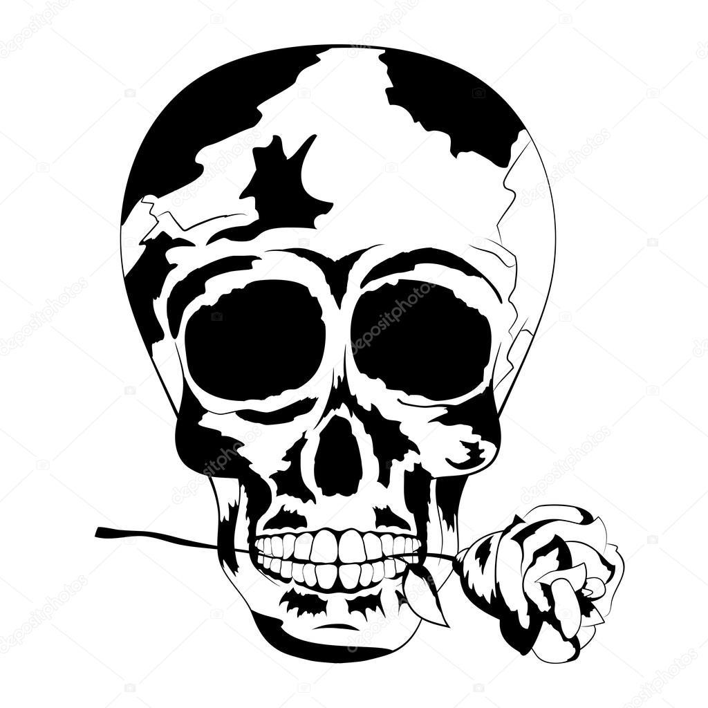 Noir Et Blanc Crane Humain Avec Rose Dans La Bouche Tatouage Skull