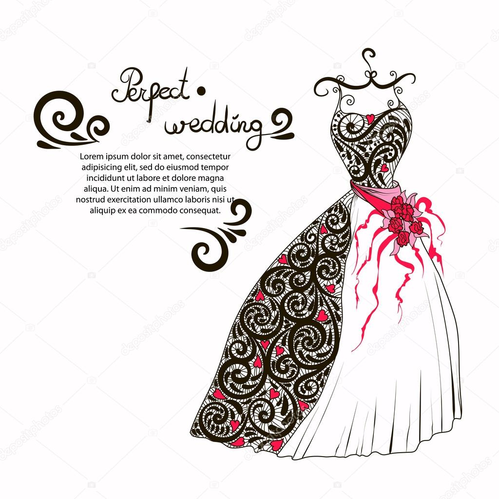 あなたの完璧な結婚式を飾るウエディング ドレス イラスト — ストック
