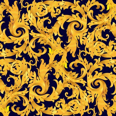 Golden seamless vector victorian baroque  background . Renaissance decorations