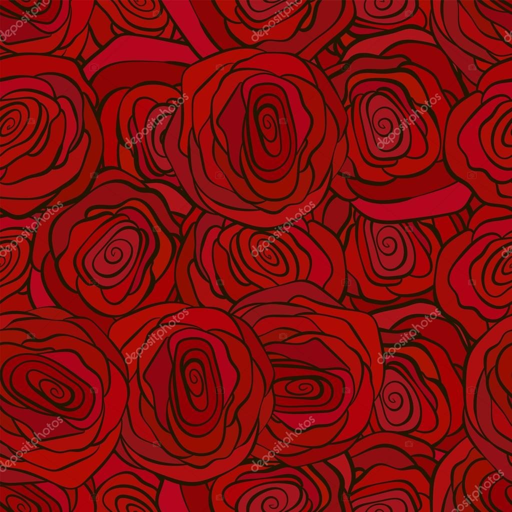 Red Roses Seamless Pattern For Valenine S Day Romantic Wallpaper Stock Vector