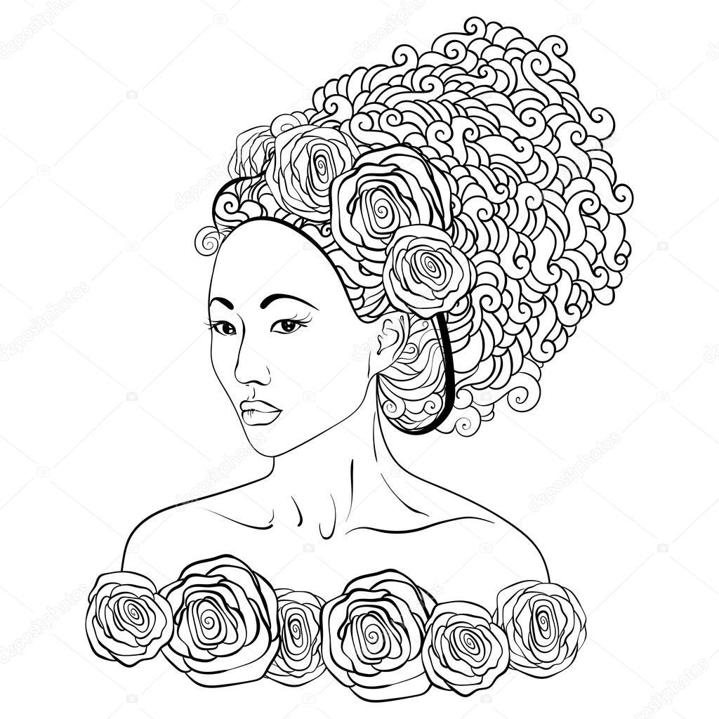 Asyalı Güzel Kadın Doodle Saç Ve Gül Ile çizilmiş Vektör çizim
