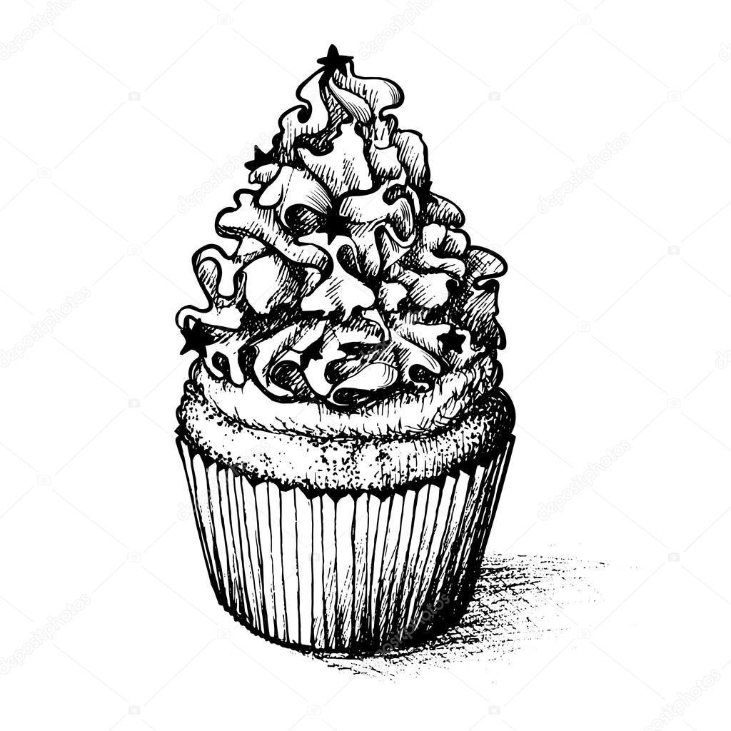 Cupcake elaborado para colorear libro de la mano — Archivo Imágenes ...