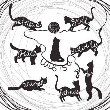 Cat quotes calligraphy lettering set on black cats silhouette
