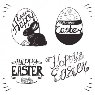 hand written Easter phrases .Greeting card text templates with E