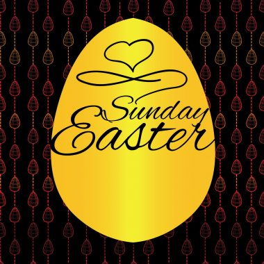 Seamless pattern with Easter eggs on black background. Hand draw
