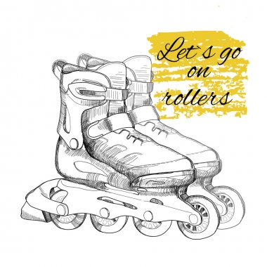 hand drawn roller skate. Graphic object for sport.