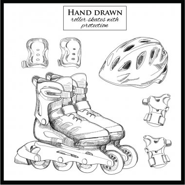 hand drawn elements of set Roller Skates with helmet and protect