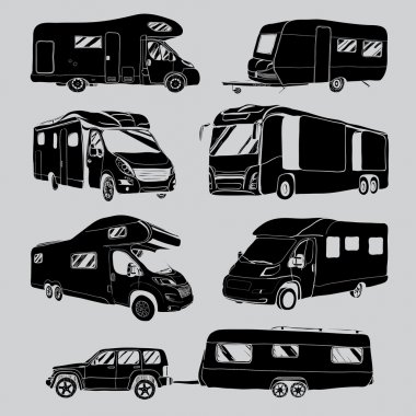 cars Recreational Vehicles Camper Vans Caravans Icons