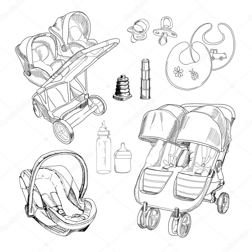 Hand Drawn Set For Twins Graphic Sketch Strollers Car Seats