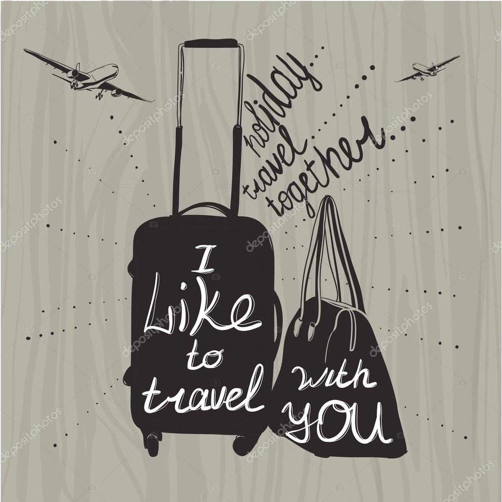 Citaten Over Inspiratie : Illustratie reizen inspiratie citaten over koffer silhouet