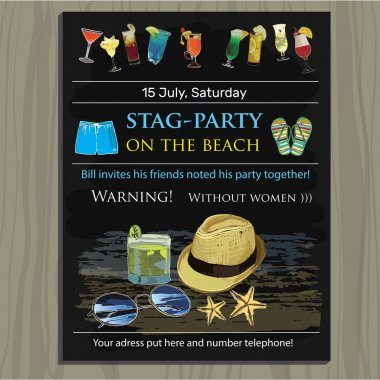stag-party invite on the beach. Holiday, vacation, invitation ca