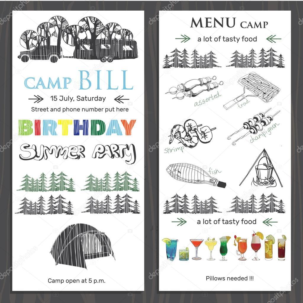 invitación para cumpleaños de niños en el campamento. Plantilla ...