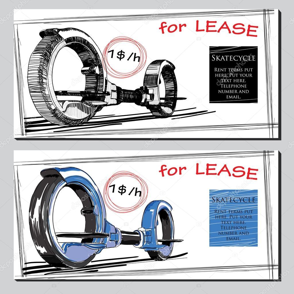 Lease Broschüre handgezeichnete Skate-Zyklus mit Preis festgelegt ...