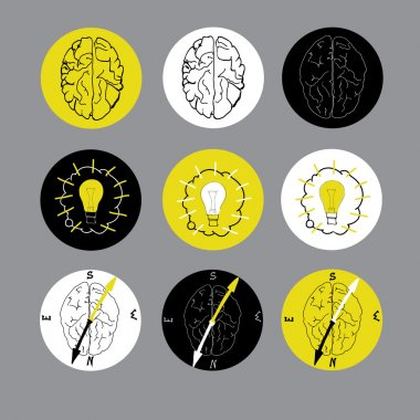 Set of flat icon with brain