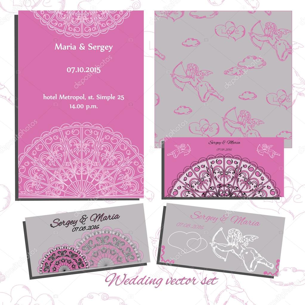 Set of wedding invitation, cards with angels, laces, hearts and