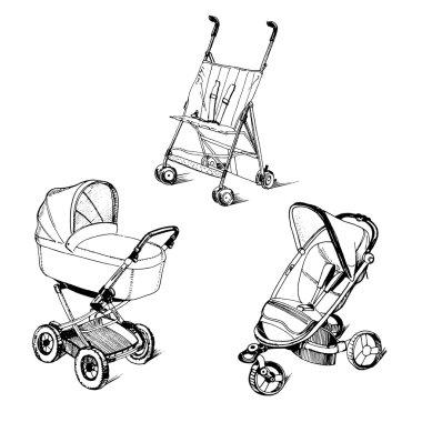 Illustration of children strollers