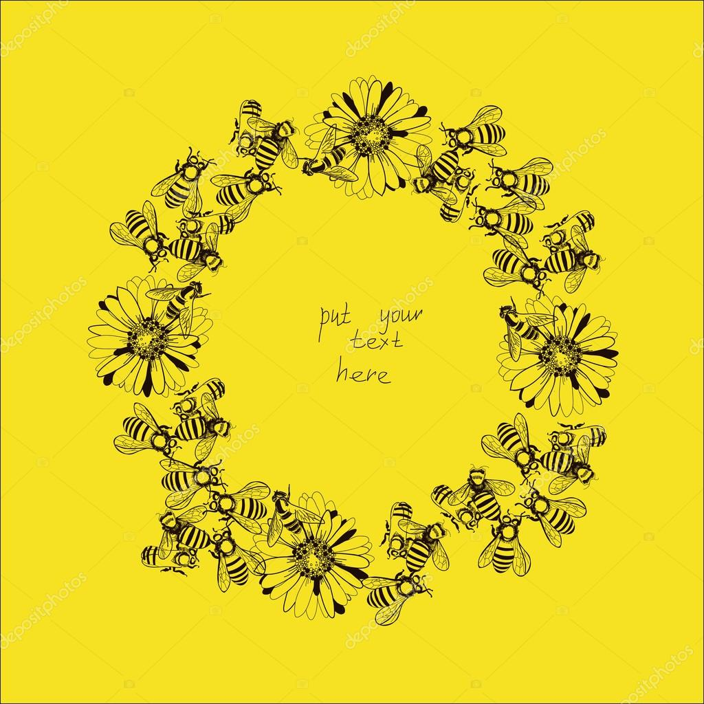 Illustration of wreath with bees and flowers
