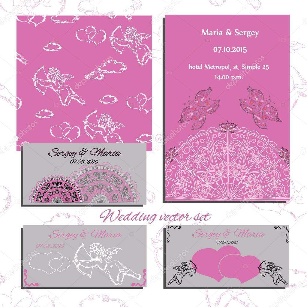 Illustration of wedding set of invitation and cards