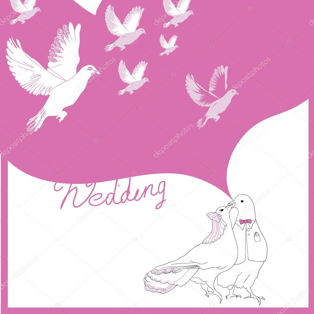 Wedding card of doves — Stock Vector © mnimpres #85153578