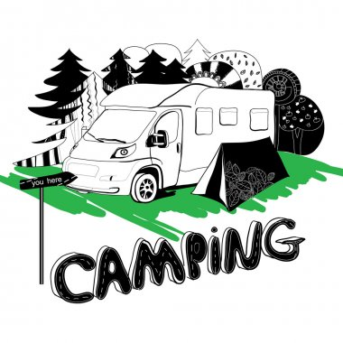 camping in a forest. Motorhouse and tent on the grass