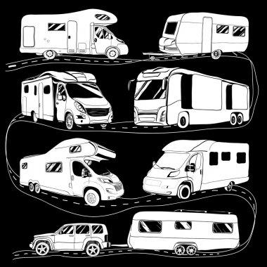 Cars Recreational Vehicles Camper Vans Caravans Icons