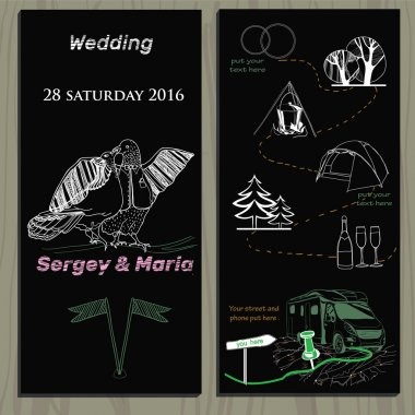 set of chalk board invitation for wedding in the camping