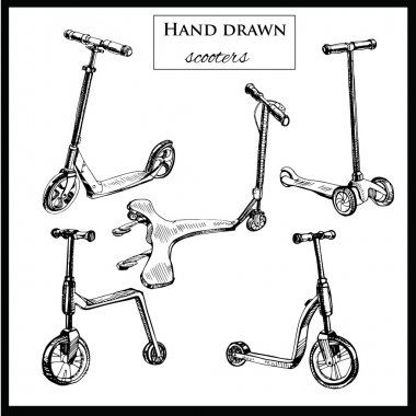 set hand drawn scooters