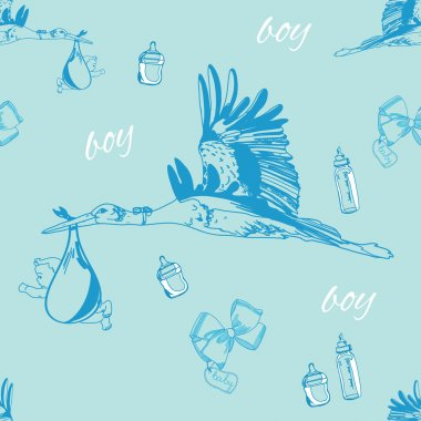 seamless pattern of stork with baby boy and bottles