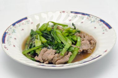 Kale fried in Oyster sauce with pork