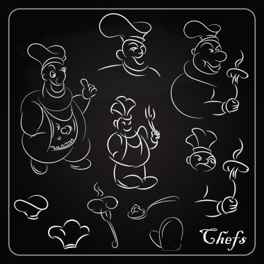 Set cartoon chefs on the blackboard. Cartoons for the menu. Outl
