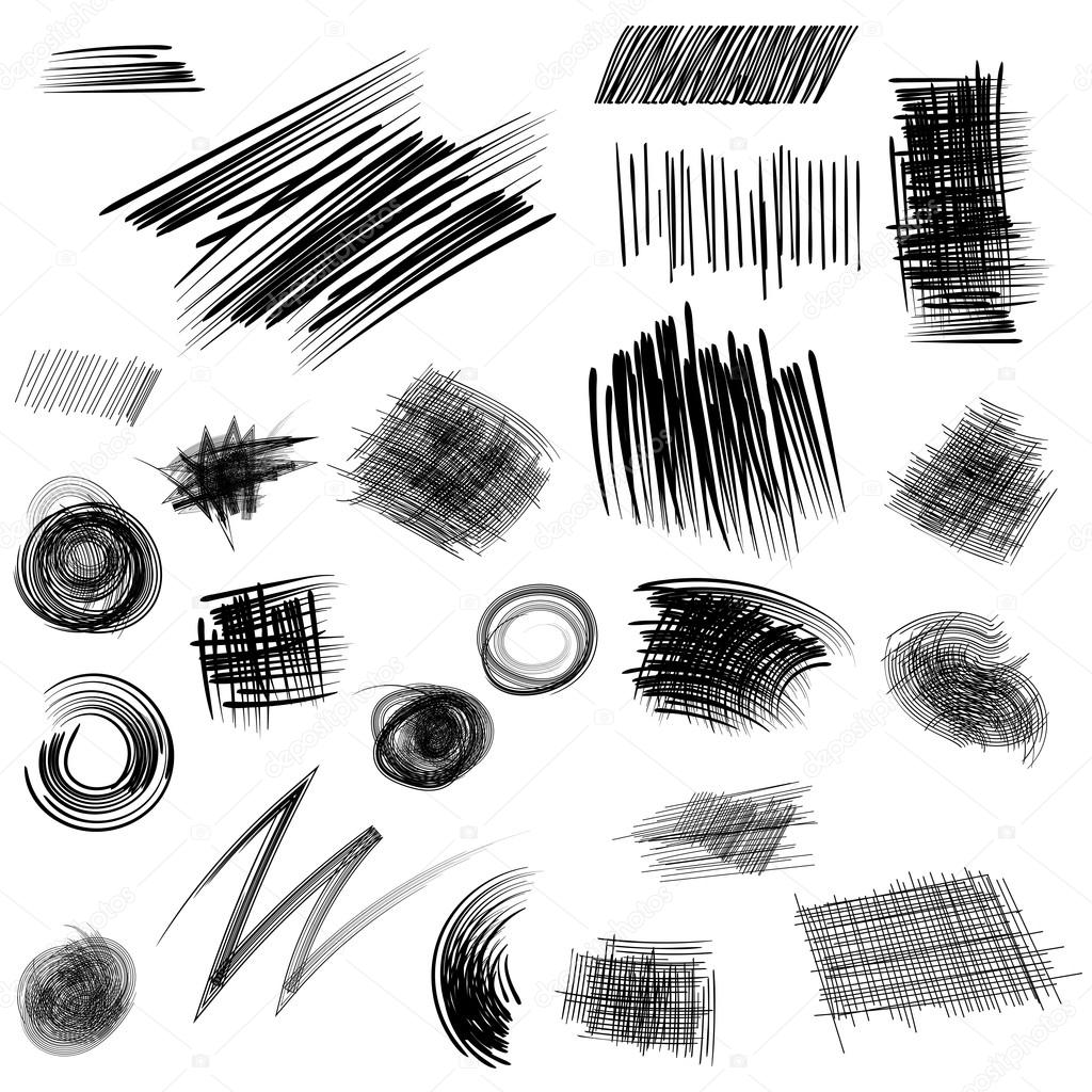 Pencil sketches hand drawn scribble shapes a set of doodle line stock vector