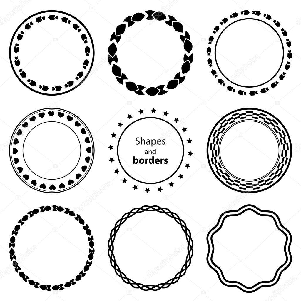 Set Fractal And Swirl Shape Element Vintage Monochrome Different Objects Vector Decorative Sample Diaphragm Border Outline Blue Color In White