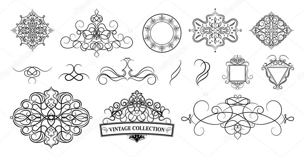 Set vintage borders, frame and rosette.  Decoration for logo, we